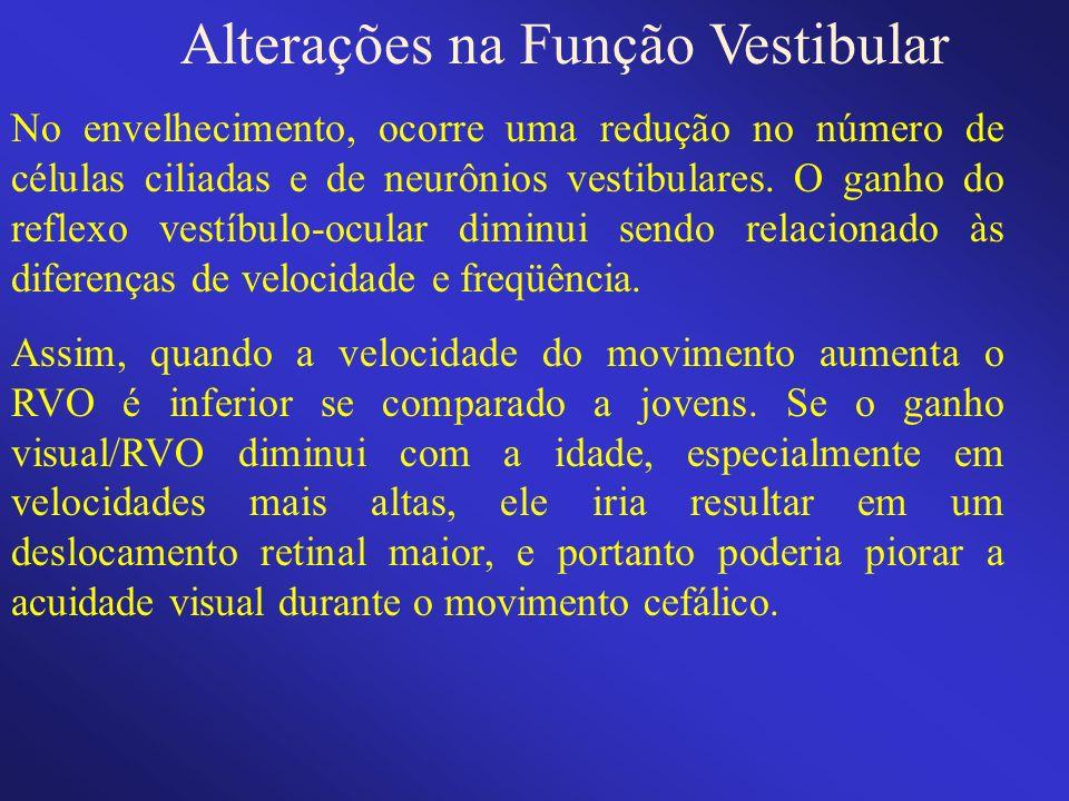 Alterações na Função Vestibular No envelhecimento, ocorre uma redução no número de células ciliadas e de neurônios vestibulares. O ganho do reflexo ve