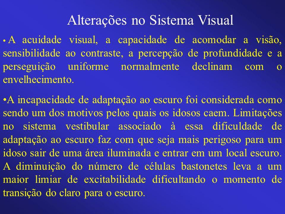 Alterações no Sistema Visual A acuidade visual, a capacidade de acomodar a visão, sensibilidade ao contraste, a percepção de profundidade e a persegui