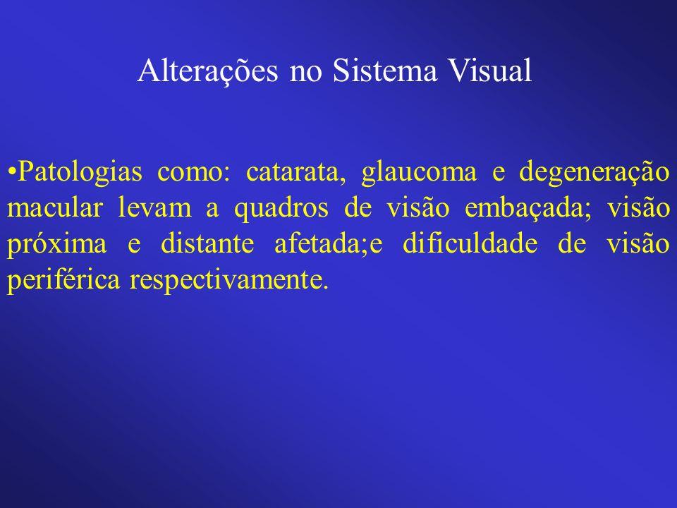 Alterações no Sistema Visual Patologias como: catarata, glaucoma e degeneração macular levam a quadros de visão embaçada; visão próxima e distante afe