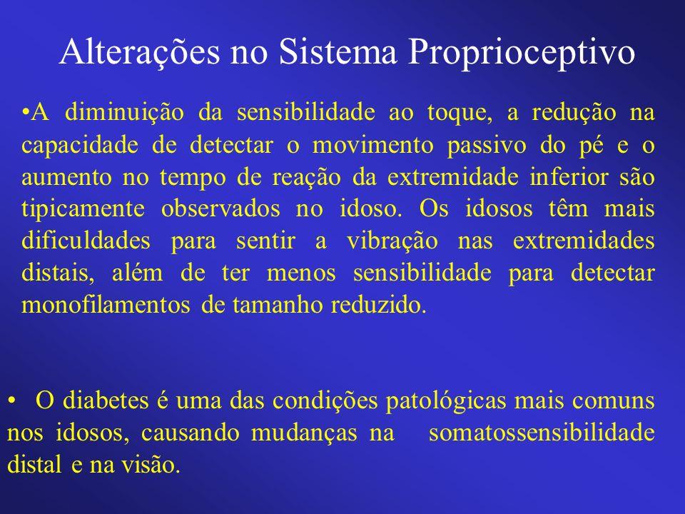 Alterações no Sistema Proprioceptivo A diminuição da sensibilidade ao toque, a redução na capacidade de detectar o movimento passivo do pé e o aumento