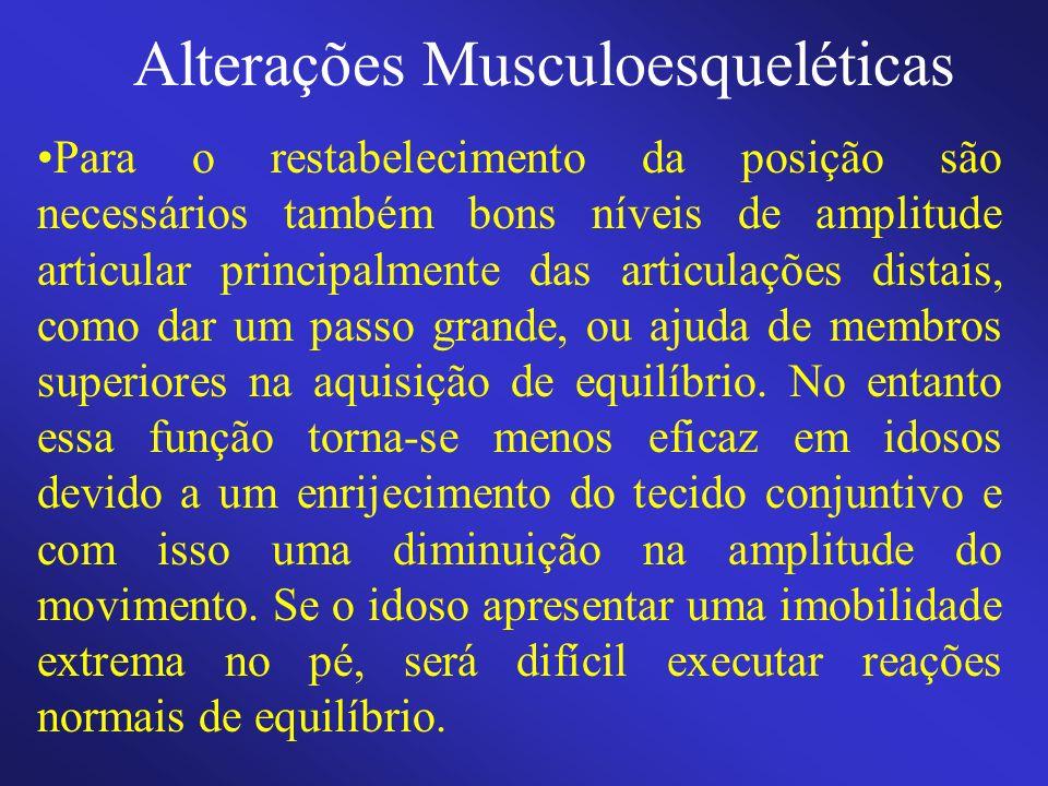 Alterações Musculoesqueléticas Para o restabelecimento da posição são necessários também bons níveis de amplitude articular principalmente das articul