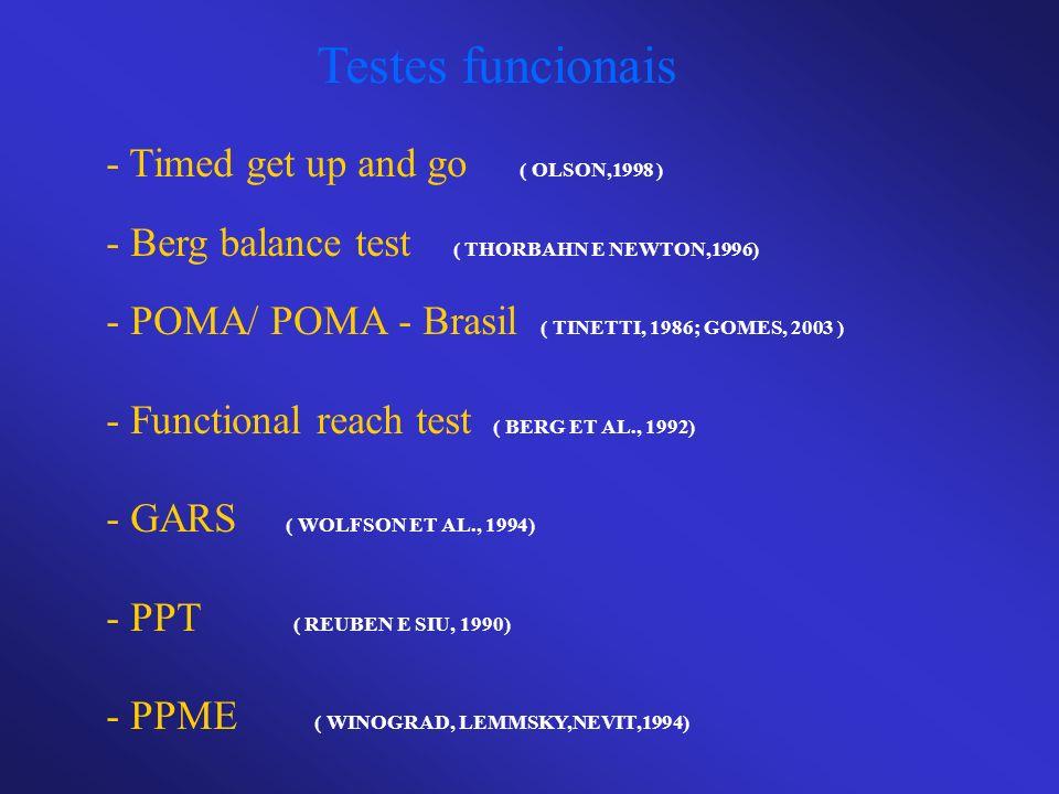 Testes funcionais - Timed get up and go ( OLSON,1998 ) - Berg balance test ( THORBAHN E NEWTON,1996) - POMA/ POMA - Brasil ( TINETTI, 1986; GOMES, 200