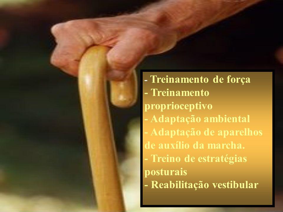 - Treinamento de força - Treinamento proprioceptivo - Adaptação ambiental - Adaptação de aparelhos de auxílio da marcha. - Treino de estratégias postu