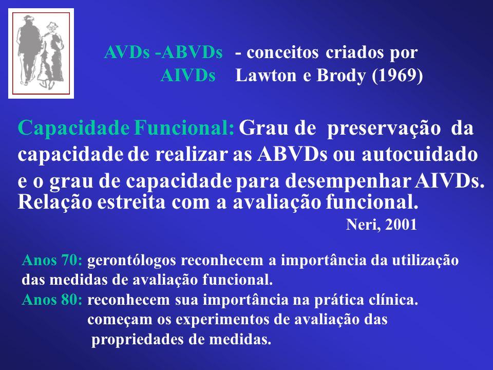 AVDs -ABVDs AIVDs - conceitos criados por Lawton e Brody (1969) Capacidade Funcional: Grau de preservação da capacidade de realizar as ABVDs ou autocu