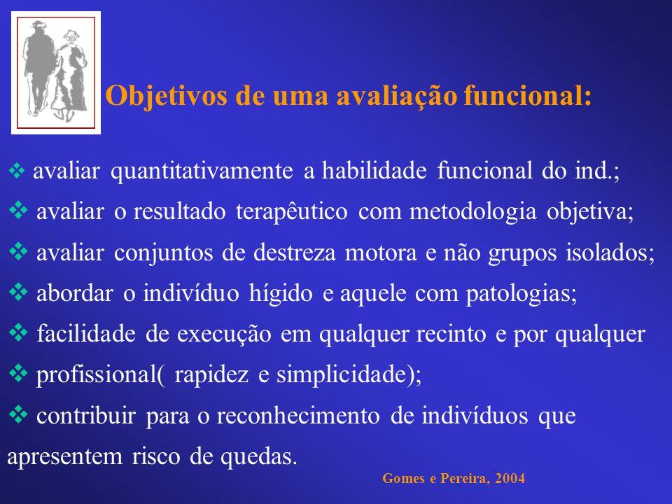 Objetivos de uma avaliação funcional: avaliar quantitativamente a habilidade funcional do ind.; avaliar o resultado terapêutico com metodologia objeti