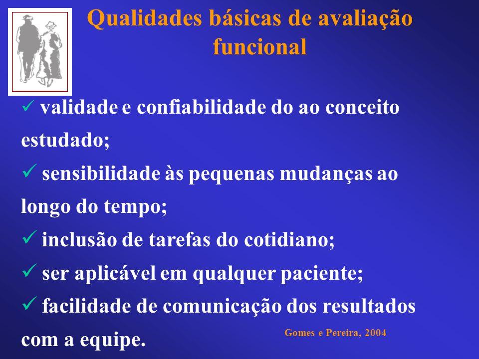 Qualidades básicas de avaliação funcional validade e confiabilidade do ao conceito estudado; sensibilidade às pequenas mudanças ao longo do tempo; inc