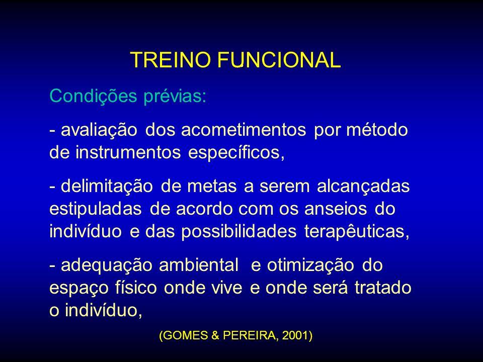 .. TREINO FUNCIONAL Condições prévias: - avaliação dos acometimentos por método de instrumentos específicos, - delimitação de metas a serem alcançadas