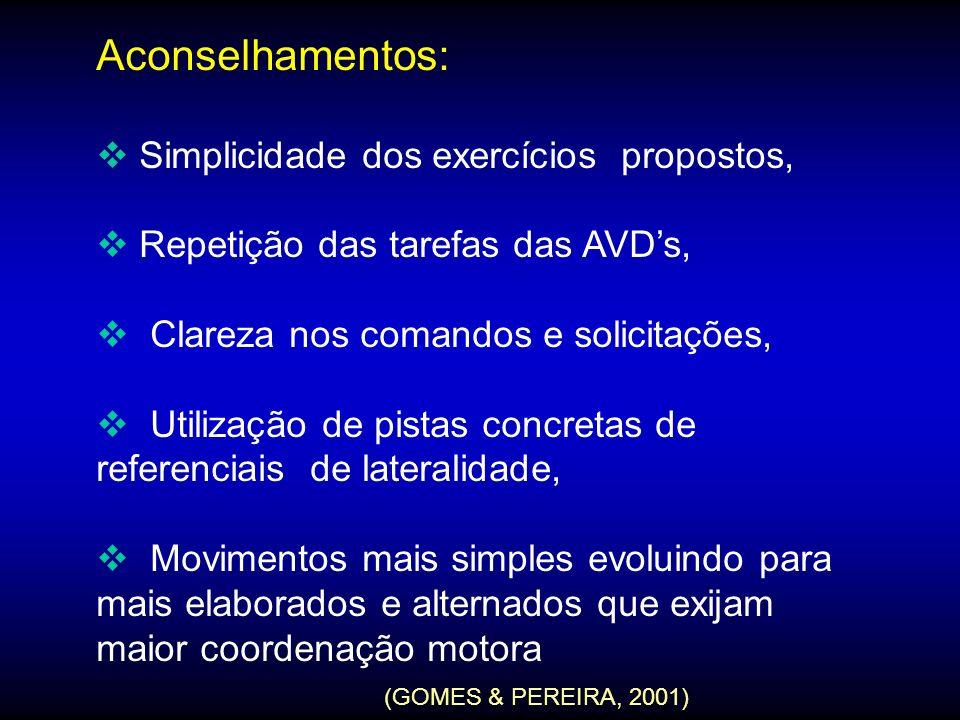 Aconselhamentos: Simplicidade dos exercícios propostos, Repetição das tarefas das AVDs, Clareza nos comandos e solicitações, Utilização de pistas conc