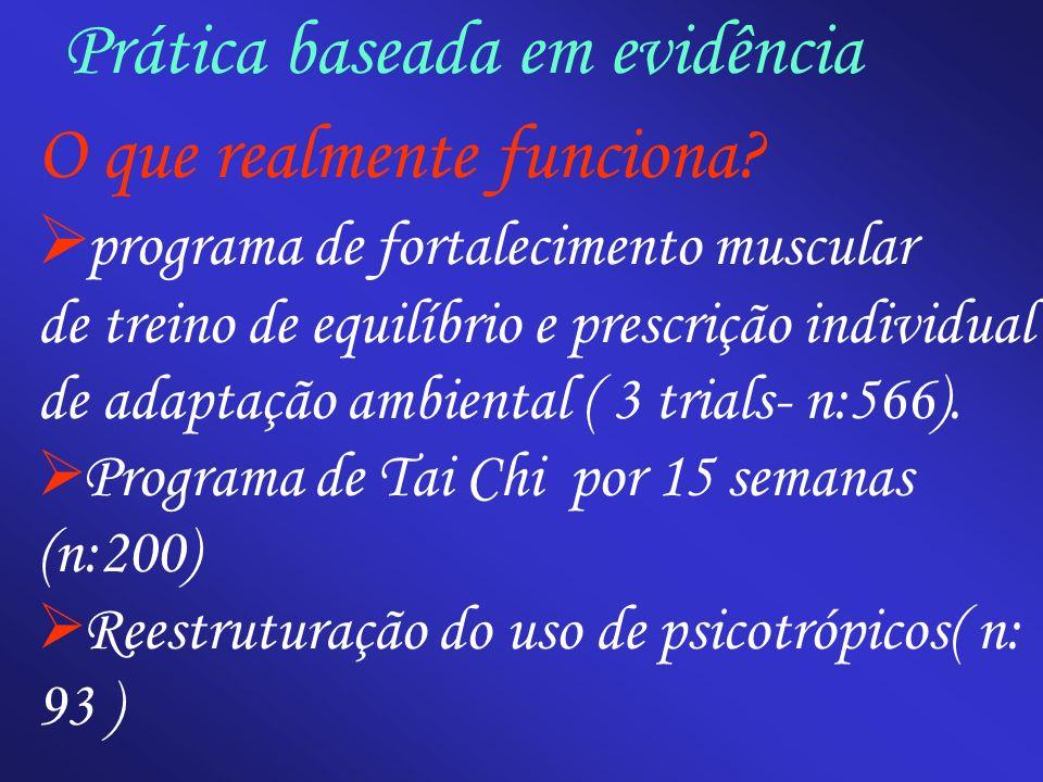 Prática baseada em evidência O que realmente funciona? programa de fortalecimento muscular de treino de equilíbrio e prescrição individual de adaptaçã