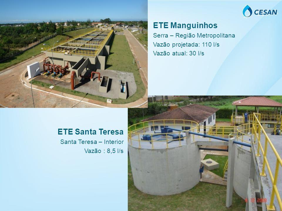 ETE Manguinhos Serra – Região Metropolitana Vazão projetada: 110 l/s Vazão atual: 30 l/s ETE Santa Teresa Santa Teresa – Interior Vazão : 8,5 l/s