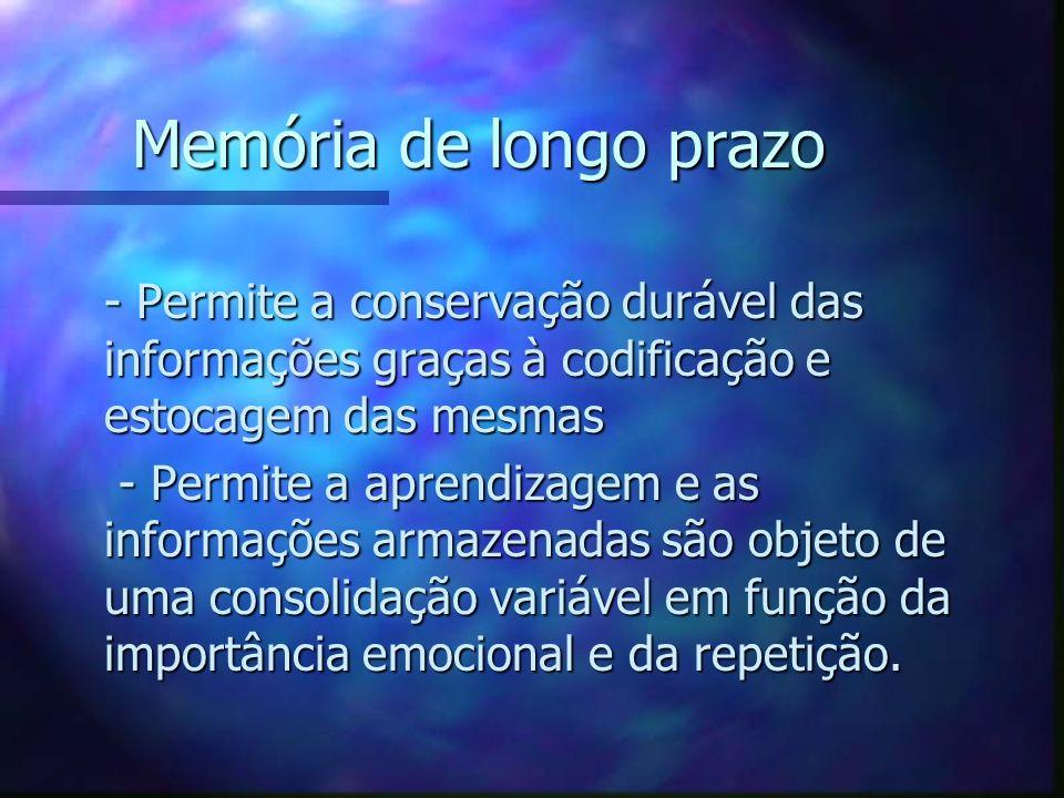 Memória de longo prazo - Permite a conservação durável das informações graças à codificação e estocagem das mesmas - Permite a conservação durável das