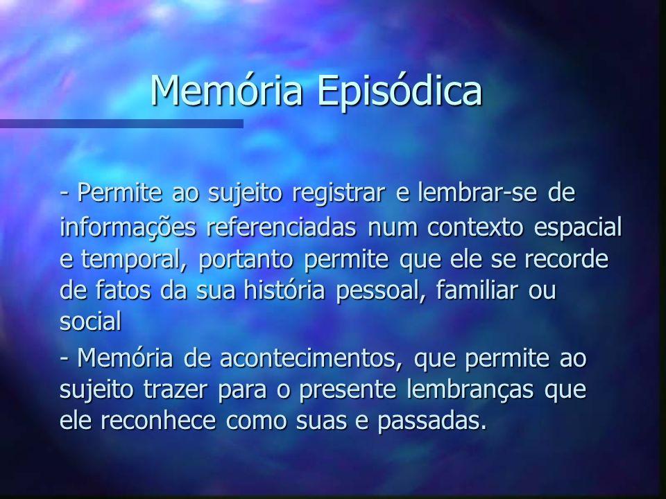 Memória Episódica - Permite ao sujeito registrar e lembrar-se de informações referenciadas num contexto espacial e temporal, portanto permite que ele