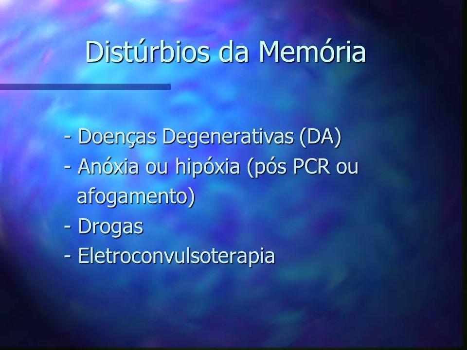 Distúrbios da Memória - Doenças Degenerativas (DA) - Doenças Degenerativas (DA) - Anóxia ou hipóxia (pós PCR ou - Anóxia ou hipóxia (pós PCR ou afogam