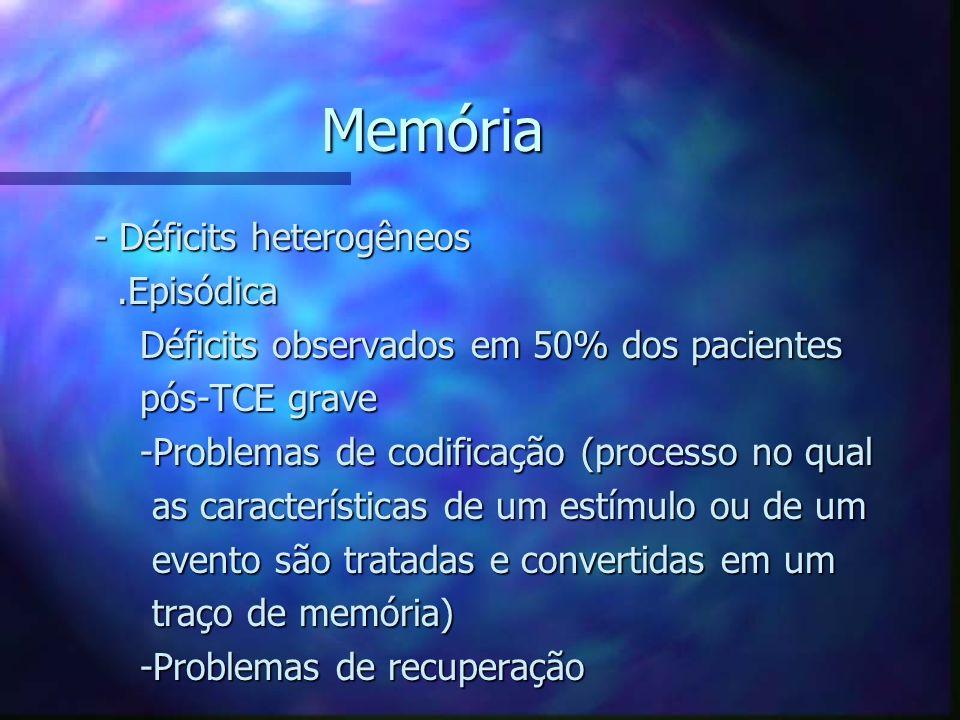 Memória - Déficits heterogêneos - Déficits heterogêneos.Episódica.Episódica Déficits observados em 50% dos pacientes Déficits observados em 50% dos pa