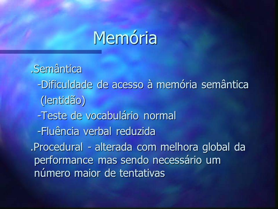 Memória.Semântica.Semântica -Dificuldade de acesso à memória semântica -Dificuldade de acesso à memória semântica (lentidão) (lentidão) -Teste de voca