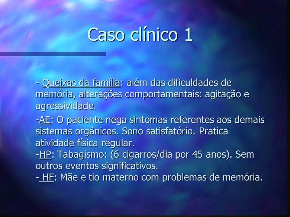 Caso clínico 1 - Queixas da família: além das dificuldades de memória, alterações comportamentais: agitação e agressividade. - Queixas da família: alé