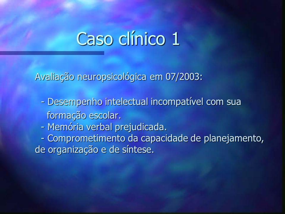 Caso clínico 1 Avaliação neuropsicológica em 07/2003: Avaliação neuropsicológica em 07/2003: - Desempenho intelectual incompatível com sua - Desempenh