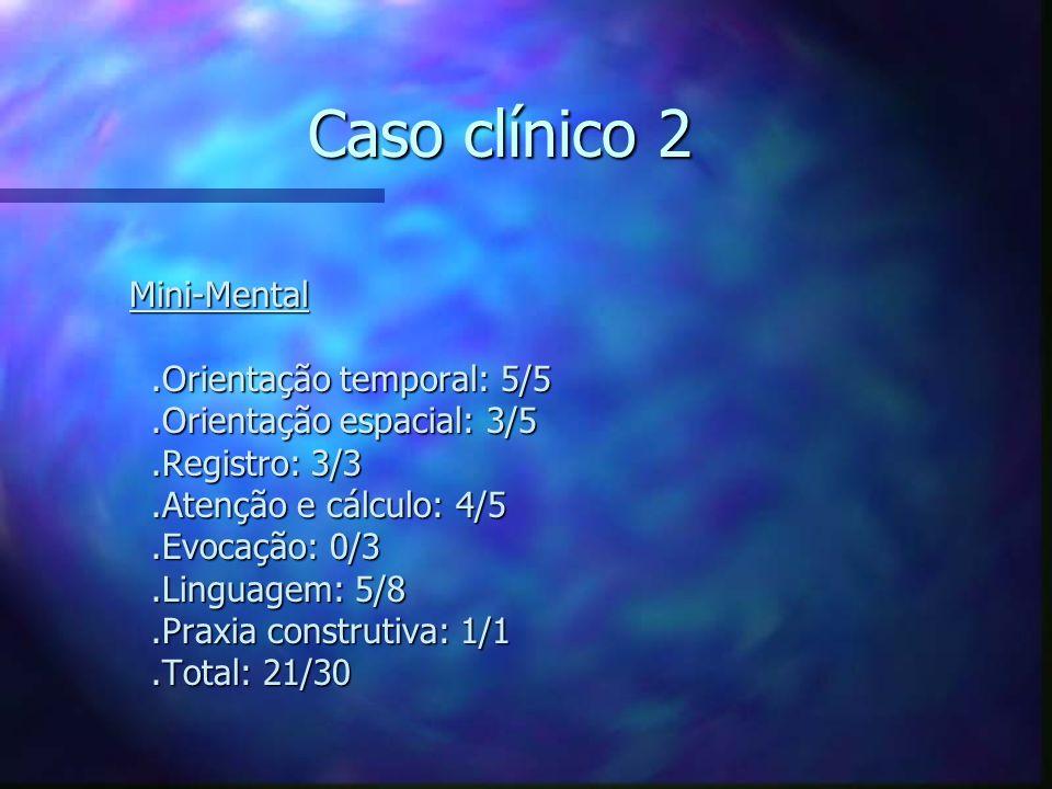 Caso clínico 2 Mini-Mental.Orientação temporal: 5/5.Orientação espacial: 3/5.Registro: 3/3.Atenção e cálculo: 4/5.Evocação: 0/3.Linguagem: 5/8.Praxia