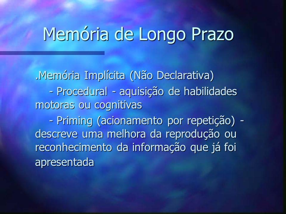 Memória de Longo Prazo.Memória Implícita (Não Declarativa).Memória Implícita (Não Declarativa) - Procedural - aquisição de habilidades motoras ou cogn