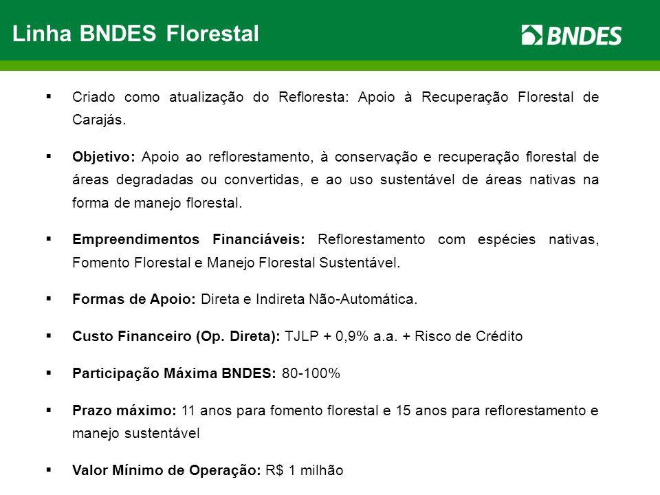 Linha BNDES Florestal Criado como atualização do Refloresta: Apoio à Recuperação Florestal de Carajás. Objetivo: Apoio ao reflorestamento, à conservaç