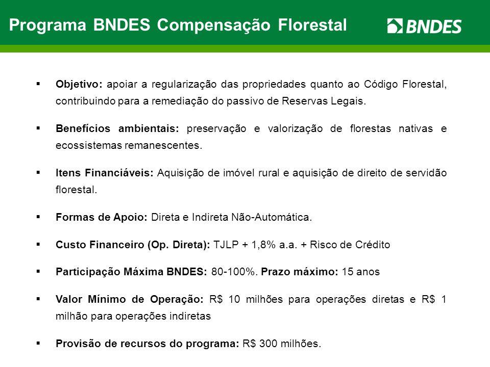 Programa BNDES Compensação Florestal Objetivo: apoiar a regularização das propriedades quanto ao Código Florestal, contribuindo para a remediação do p
