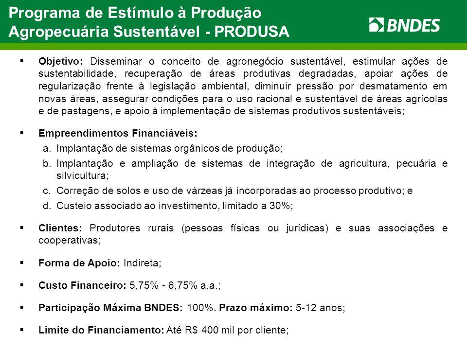 Programa de Estímulo à Produção Agropecuária Sustentável - PRODUSA Objetivo: Disseminar o conceito de agronegócio sustentável, estimular ações de sust