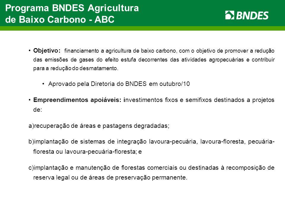 Programa BNDES Agricultura de Baixo Carbono - ABC Objetivo: financiamento a agricultura de baixo carbono, com o objetivo de promover a redução das emi
