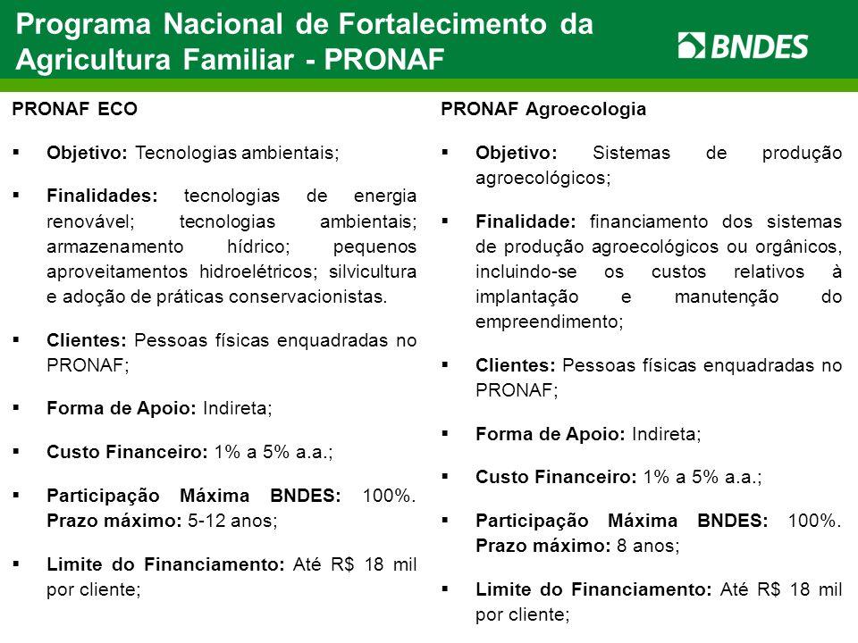 Programa Nacional de Fortalecimento da Agricultura Familiar - PRONAF PRONAF ECO Objetivo: Tecnologias ambientais; Finalidades: tecnologias de energia