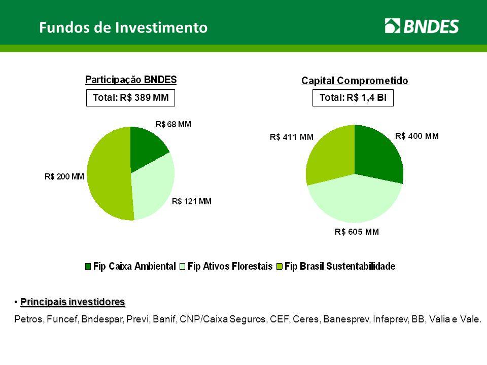 Total: R$ 389 MMTotal: R$ 1,4 Bi Principais investidores Petros, Funcef, Bndespar, Previ, Banif, CNP/Caixa Seguros, CEF, Ceres, Banesprev, Infaprev, B