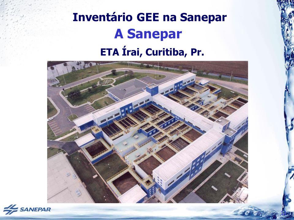 Inventário GEE na Sanepar A Sanepar 11 ETA Írai, Curitiba, Pr.