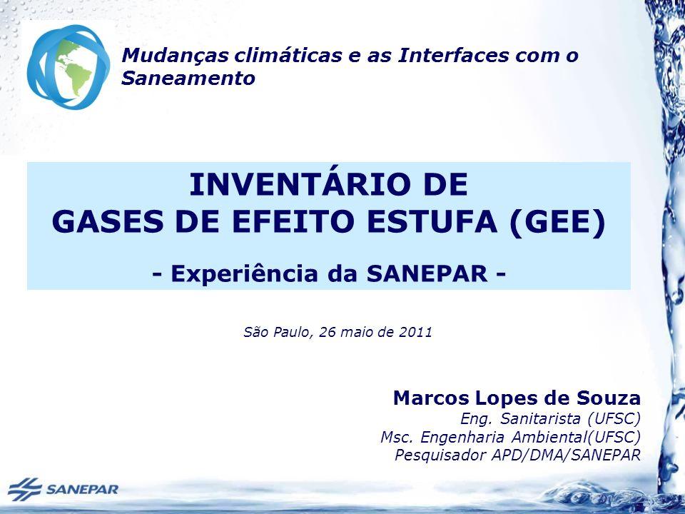 Marcos Lopes de Souza Eng. Sanitarista (UFSC) Msc. Engenharia Ambiental(UFSC) Pesquisador APD/DMA/SANEPAR INVENTÁRIO DE GASES DE EFEITO ESTUFA (GEE) -
