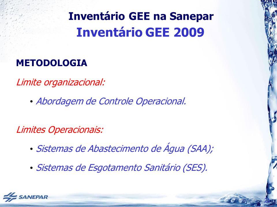 Inventário GEE na Sanepar Inventário GEE 2009 21 METODOLOGIA Limite organizacional: Abordagem de Controle Operacional. Limites Operacionais: Sistemas