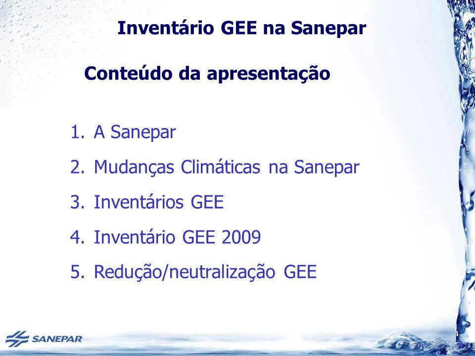 Inventário GEE na Sanepar Inventário GEE 2009 EscopoAtividade / Fonte EmissãoMetodologia / Ferramenta 1SESCH 4 IPCC (2006)/ Excel APD 1SESÓxido NitrosoIPCC (2006)/ Excel APD 1Queima combustíveis CO 2 GHG / Excel GHG Protocol 2Consumo de energia elétrica CO 2 GHG / Excel GHG Protocol Metodologia de cálculo e Fatores de Emissão METODOLOGIA