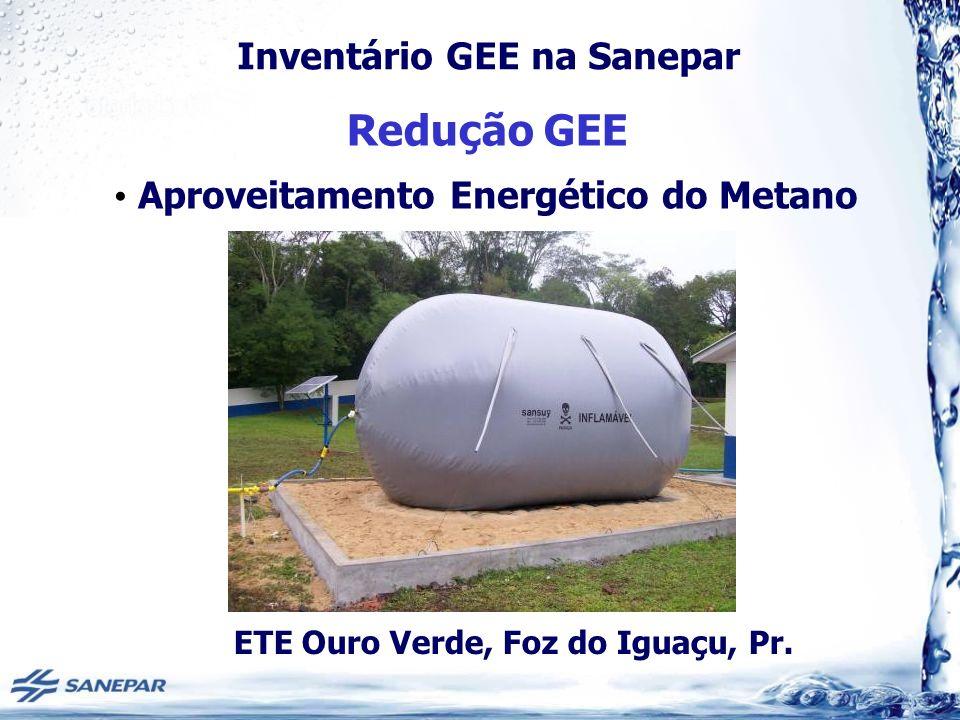 Inventário GEE na Sanepar Redução GEE Aproveitamento Energético do Metano ETE Ouro Verde, Foz do Iguaçu, Pr.