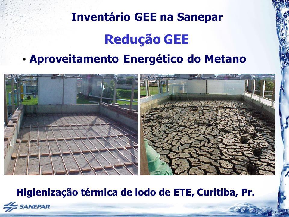 Inventário GEE na Sanepar Redução GEE Aproveitamento Energético do Metano Higienização térmica de lodo de ETE, Curitiba, Pr.