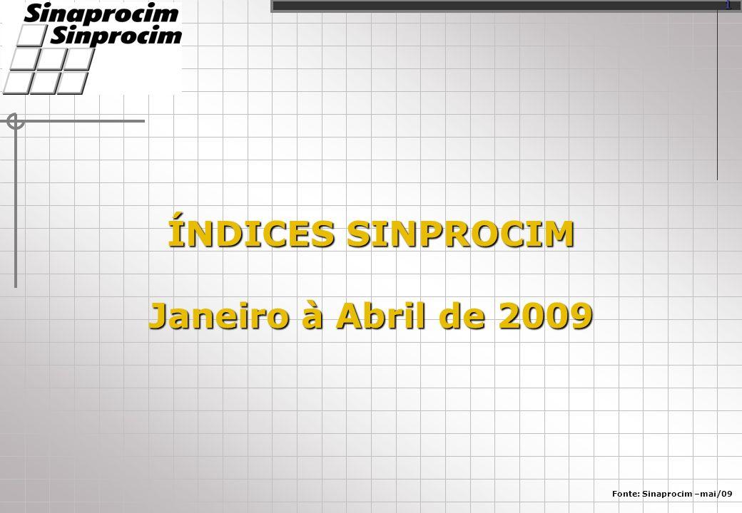 ÍNDICES SINPROCIM Janeiro à Abril de 2009 Fonte: Sinaprocim –mai/09 1