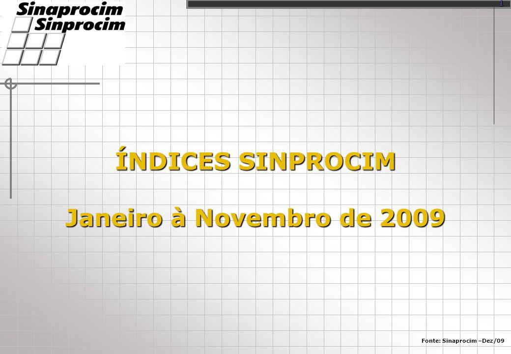 ÍNDICES SINPROCIM Janeiro à Novembro de 2009 Fonte: Sinaprocim –Dez/09 1