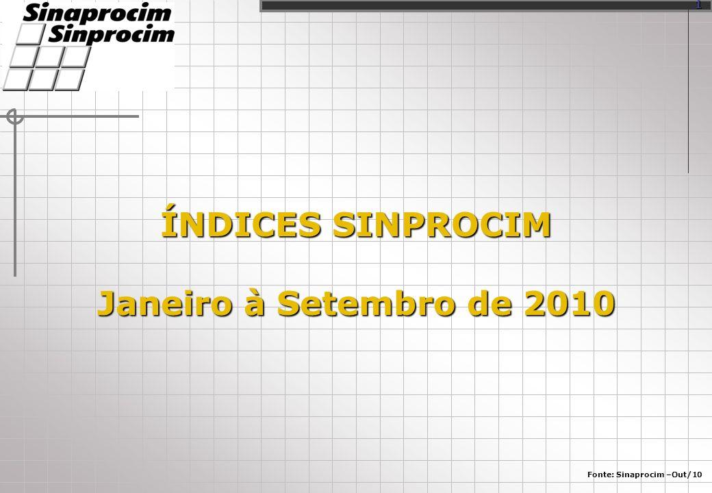 ÍNDICES SINPROCIM Janeiro à Setembro de 2010 Fonte: Sinaprocim –Out/10 1