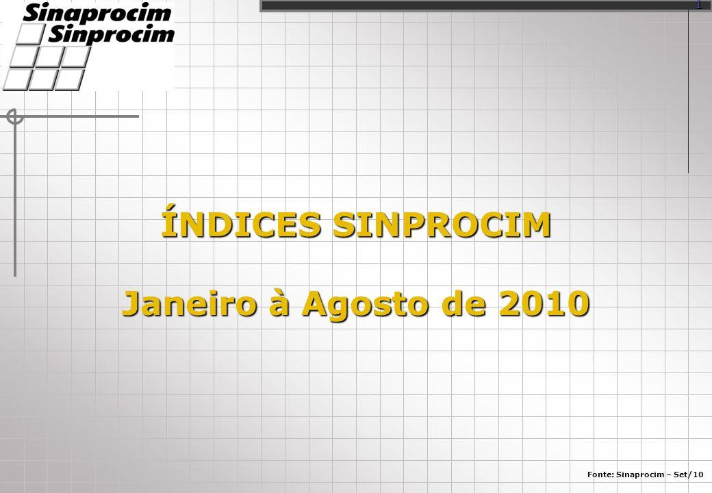 ÍNDICES SINPROCIM Janeiro à Agosto de 2010 Fonte: Sinaprocim – Set/10 1