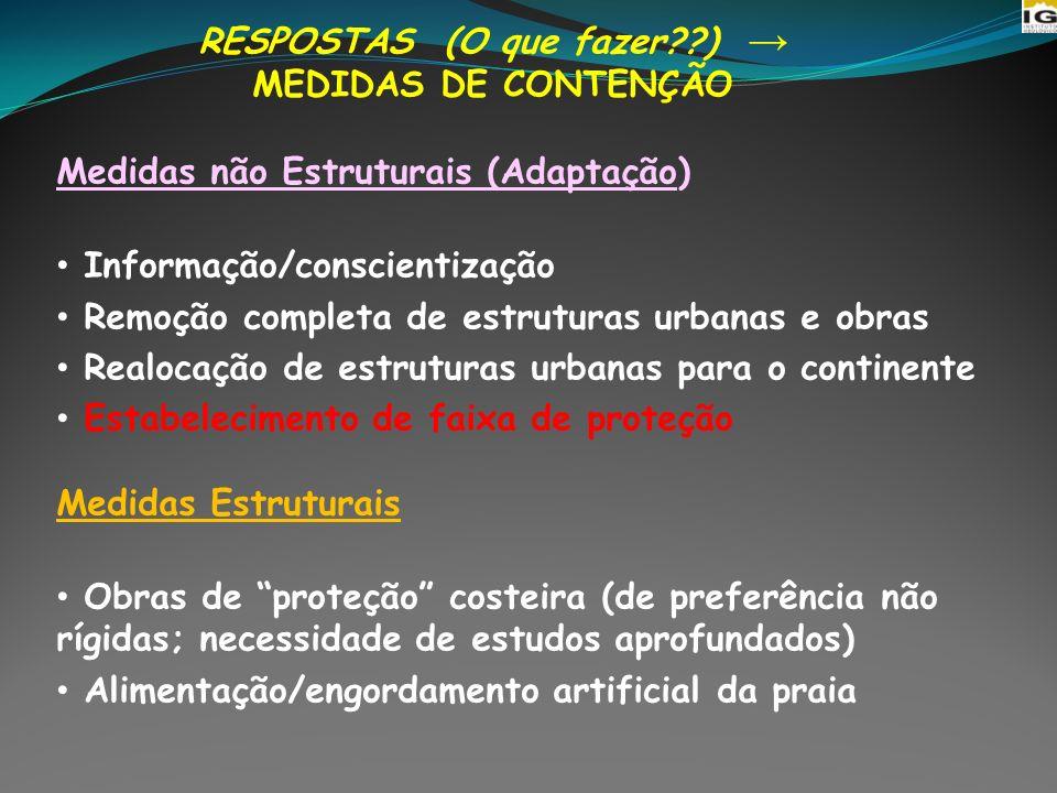 RESPOSTAS (O que fazer??) MEDIDAS DE CONTENÇÃO Medidas não Estruturais (Adaptação) Informação/conscientização Remoção completa de estruturas urbanas e