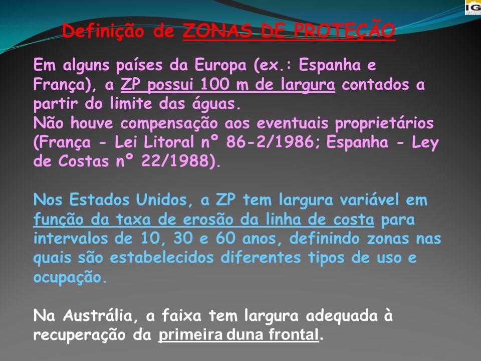 Definição de ZONAS DE PROTEÇÃO Em alguns países da Europa (ex.: Espanha e França), a ZP possui 100 m de largura contados a partir do limite das águas.