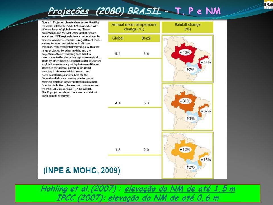Projeções (2080) BRASIL – T, P e NM 6 Hohling et al.(2007) : elevação do NM de até 1,5 m IPCC (2007): elevação do NM de até 0,6 m (INPE & MOHC, 2009)