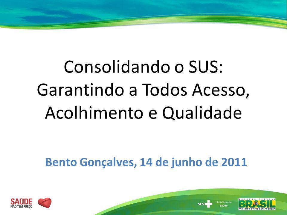 Consolidando o SUS: Garantindo a Todos Acesso, Acolhimento e Qualidade Bento Gonçalves, 14 de junho de 2011