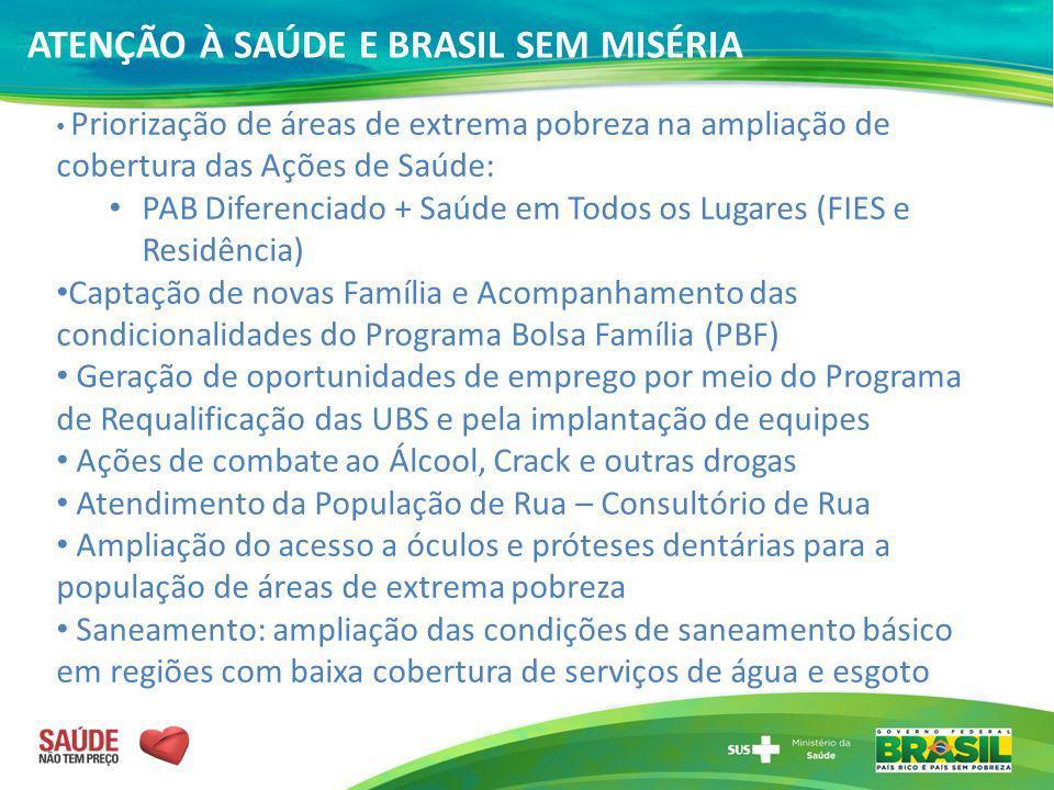 ATENÇÃO À SAÚDE E BRASIL SEM MISÉRIA Priorização de áreas de extrema pobreza na ampliação de cobertura das Ações de Saúde: PAB Diferenciado + Saúde em