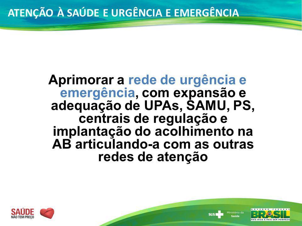 ATENÇÃO À SAÚDE E URGÊNCIA E EMERGÊNCIA Aprimorar a rede de urgência e emergência, com expansão e adequação de UPAs, SAMU, PS, centrais de regulação e