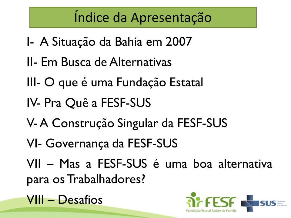 Índice da Apresentação I- A Situação da Bahia em 2007 II- Em Busca de Alternativas III- O que é uma Fundação Estatal IV- Pra Quê a FESF-SUS V- A Const