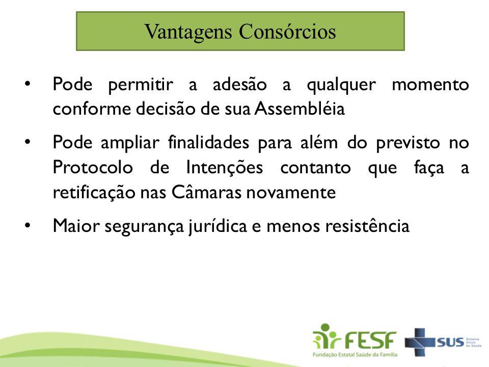 Vantagens Consórcios Pode permitir a adesão a qualquer momento conforme decisão de sua Assembléia Pode ampliar finalidades para além do previsto no Pr