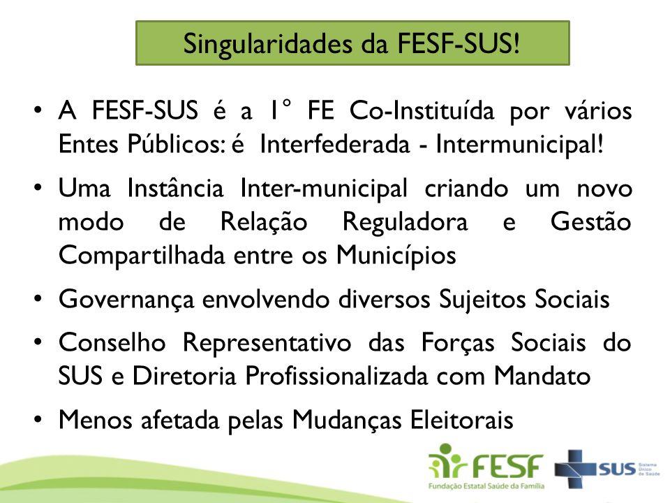 A FESF-SUS é a 1° FE Co-Instituída por vários Entes Públicos: é Interfederada - Intermunicipal! Uma Instância Inter-municipal criando um novo modo de