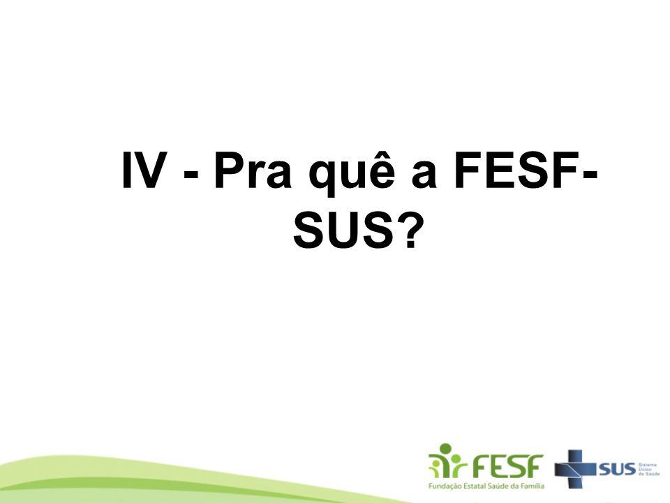 IV - Pra quê a FESF- SUS?