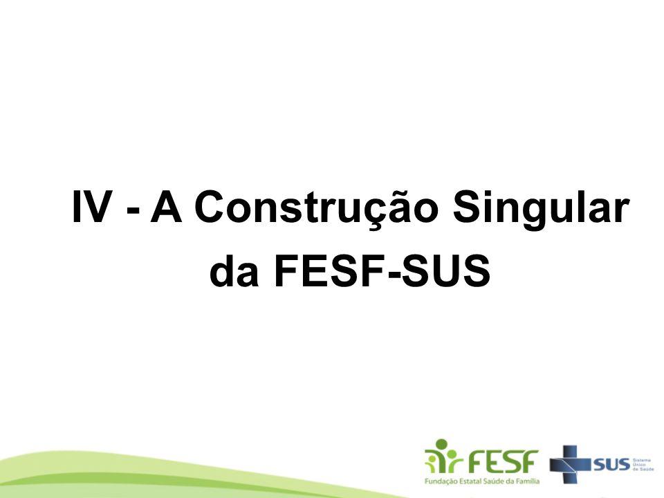 IV - A Construção Singular da FESF-SUS